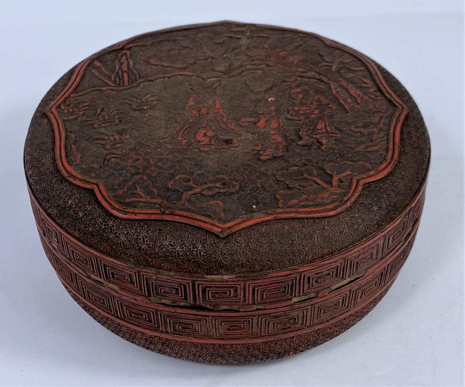 A Chinese cinnabar colour lacquered box, d. 18cm (restored); 2 other boxes - Image 4 of 7