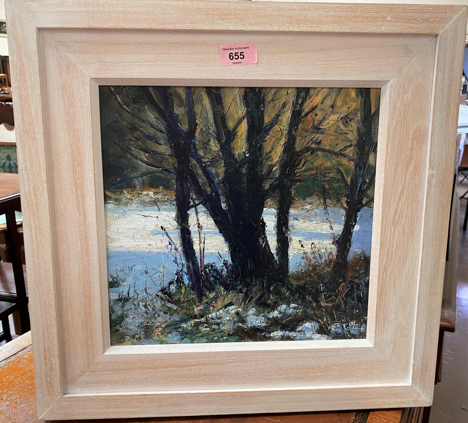 """Jock Nichol (1962) """"The Scent of Snow"""" Acrylic, signed. 30 x 29 cm framed (47 x 46cm overall)"""