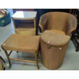 2 gilt Lloyd Loom armchairs; a Lloyd Loom bedside cabinet, linen basket and stool