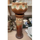 A Burmanoft brown and green Victorian jardinière on stand