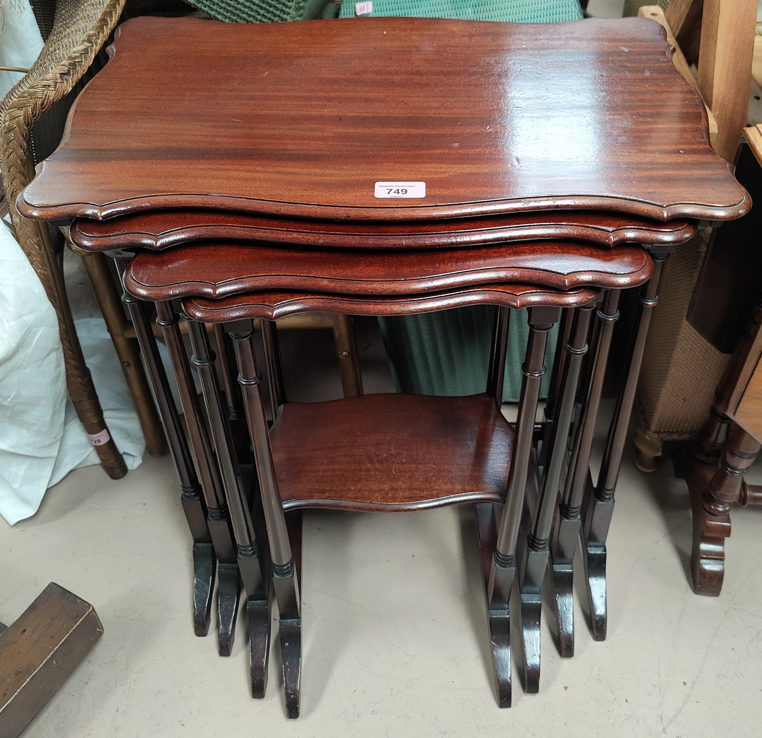 A quartetto of mahogany Georgian style tables, rectangular tops with piecrust edge, 56 cm