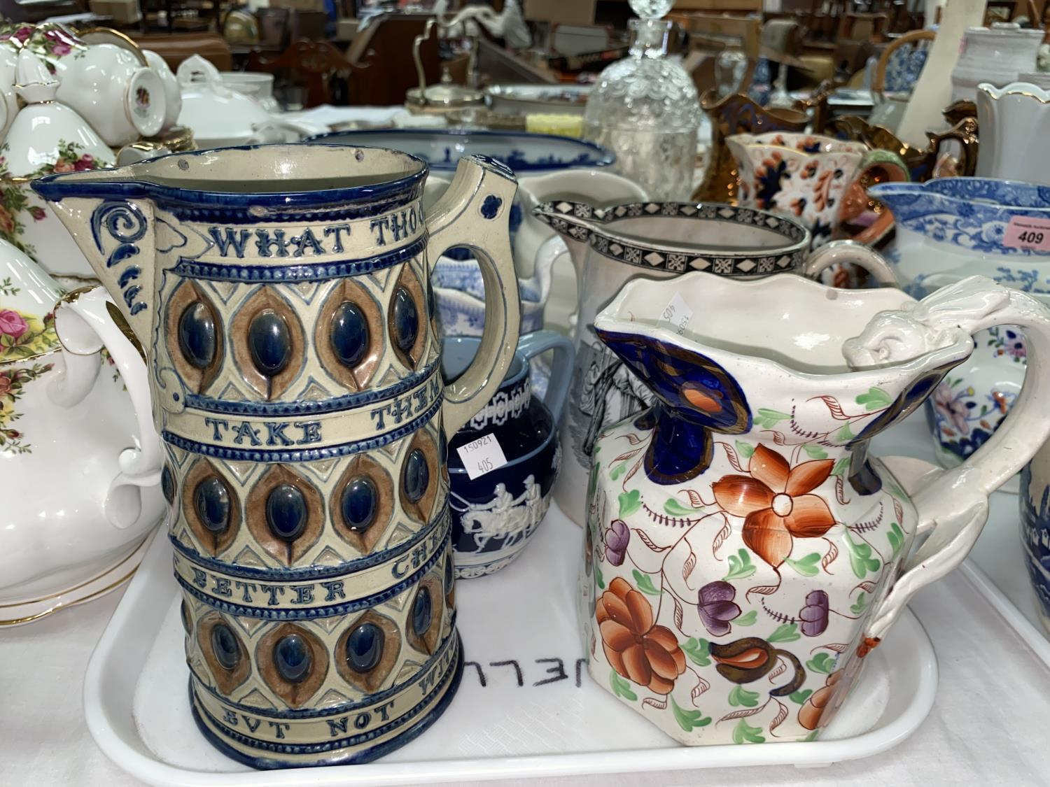 A collection of Victorian and later jugs; a modern blue & white footbath - Image 2 of 4