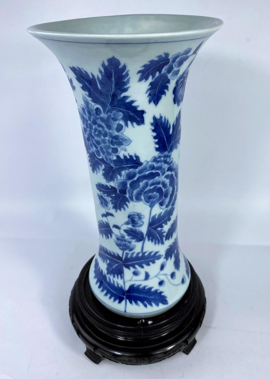 A Chinese porcelain vase of waisted cylindrical form, decorated with flowers and leaves in - Image 4 of 8