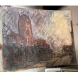 Northern School: The Anglican Cathedral, Liverpool, oil on board, 75 x 90 cm, unframed, partial