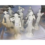 Royal Worcester 9 'The 1920's Vogue Collection ceramic figures - Ellen 1920, Daisy 1922, Molly 1923,
