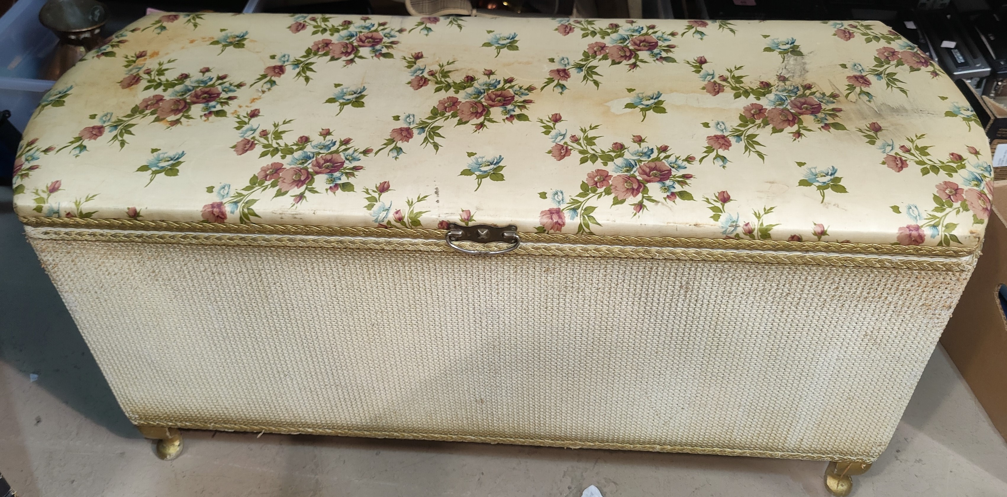 A woven bedding chest