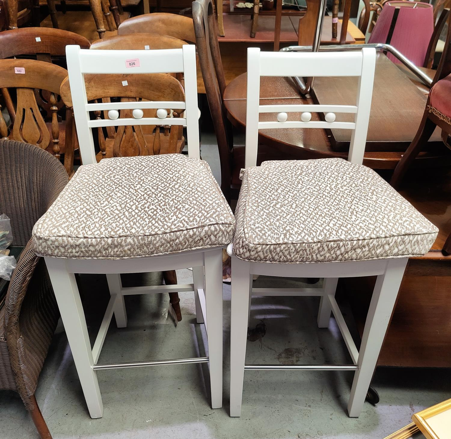 3 bar chairs in white finish by Neptune