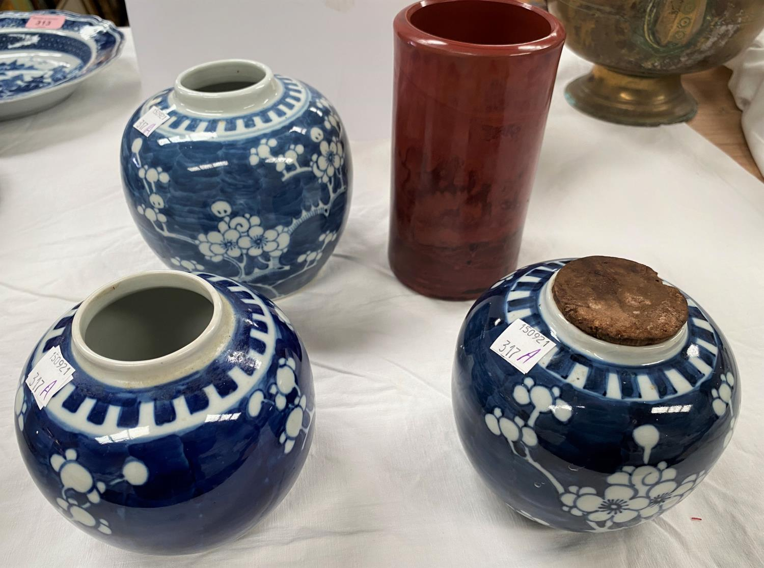 3 Chinese prunus blossom ginger jars, no lids, with double circle marks to base and a Chinese red - Image 2 of 4