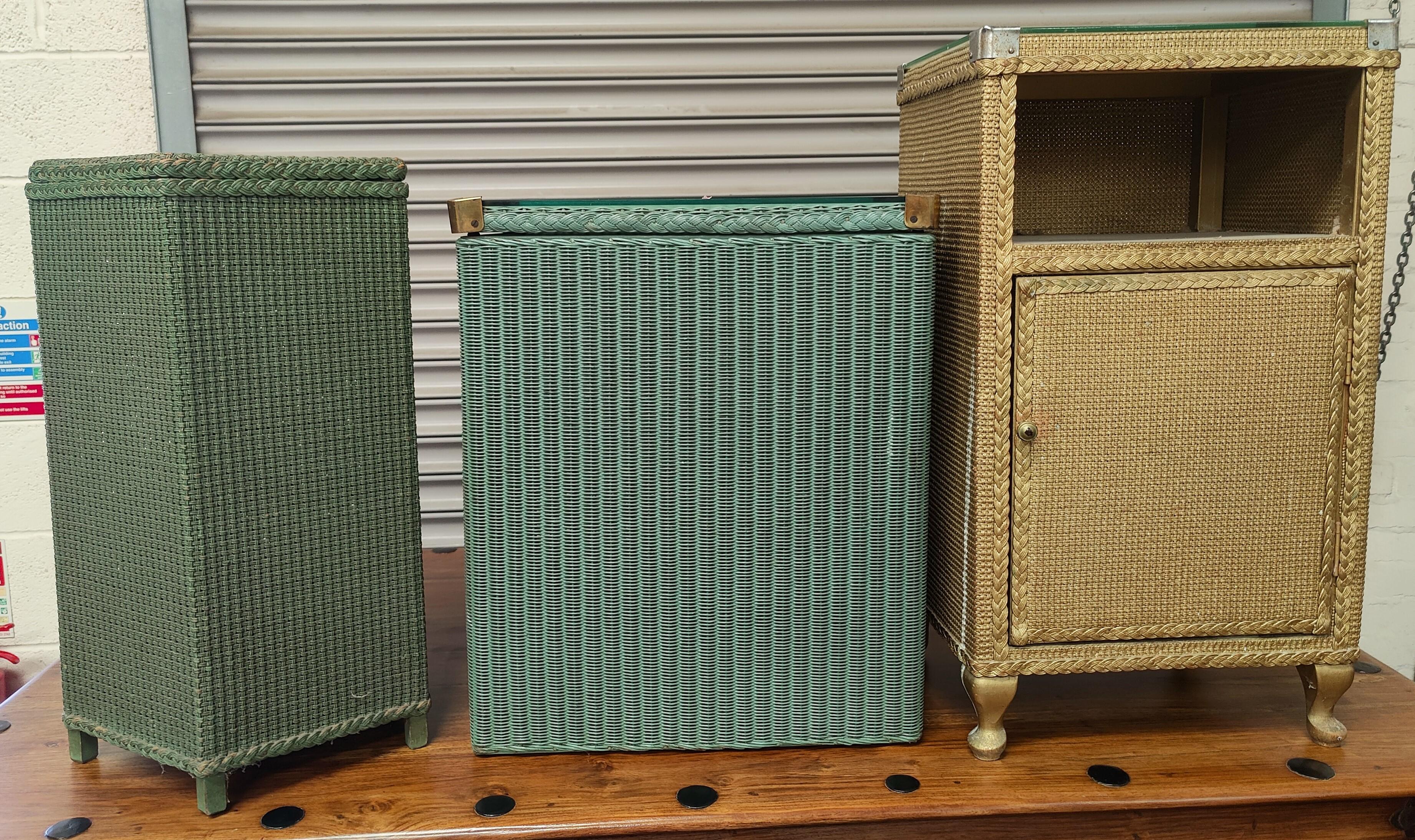 A green Lloyd Loom linen basket; a woven fabric linen basket and ottoman etc