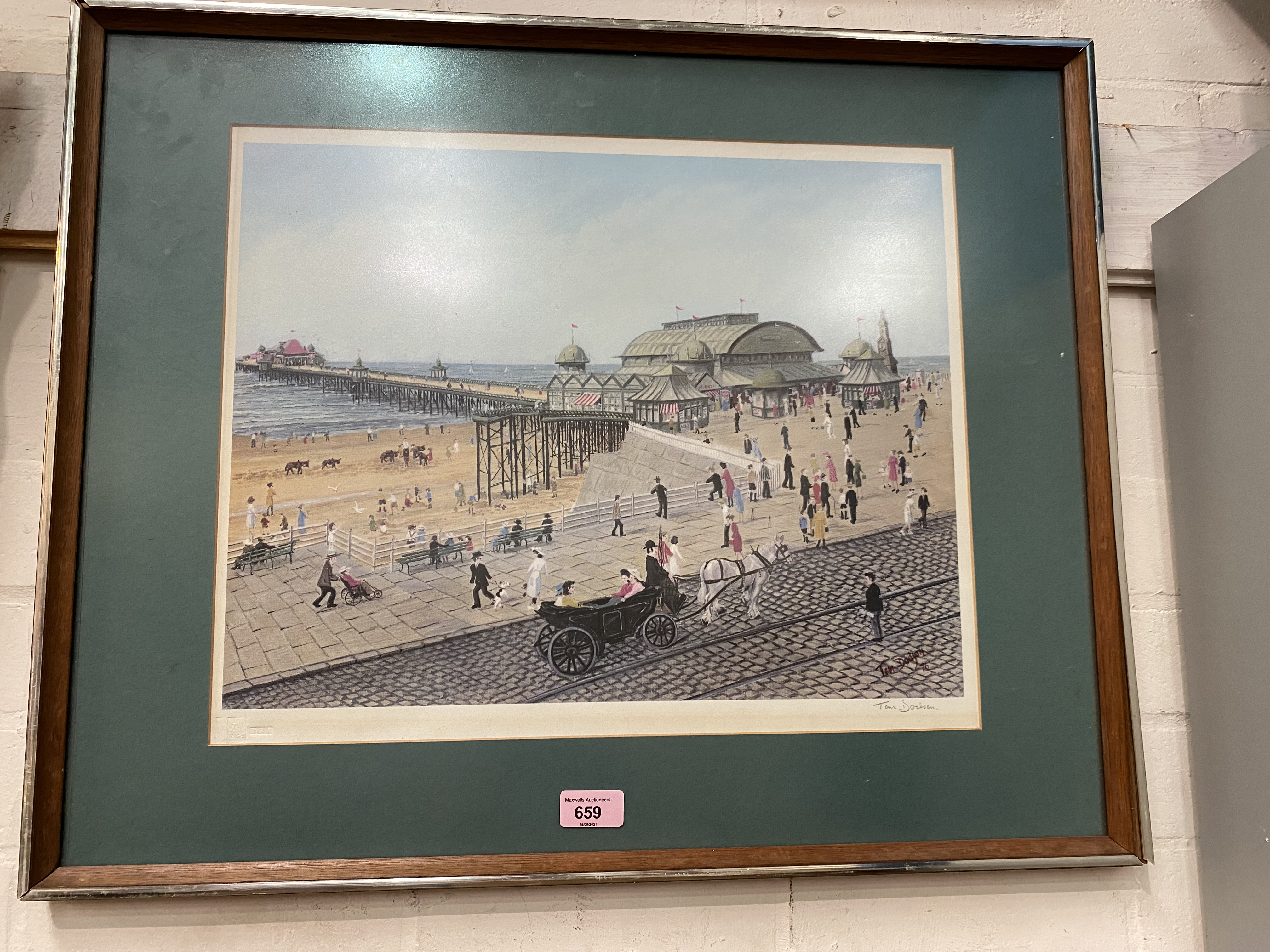 Tom Dodson: limited edition print, Blackpool Pier, signed in pencil, 38 x 45 cm, framed
