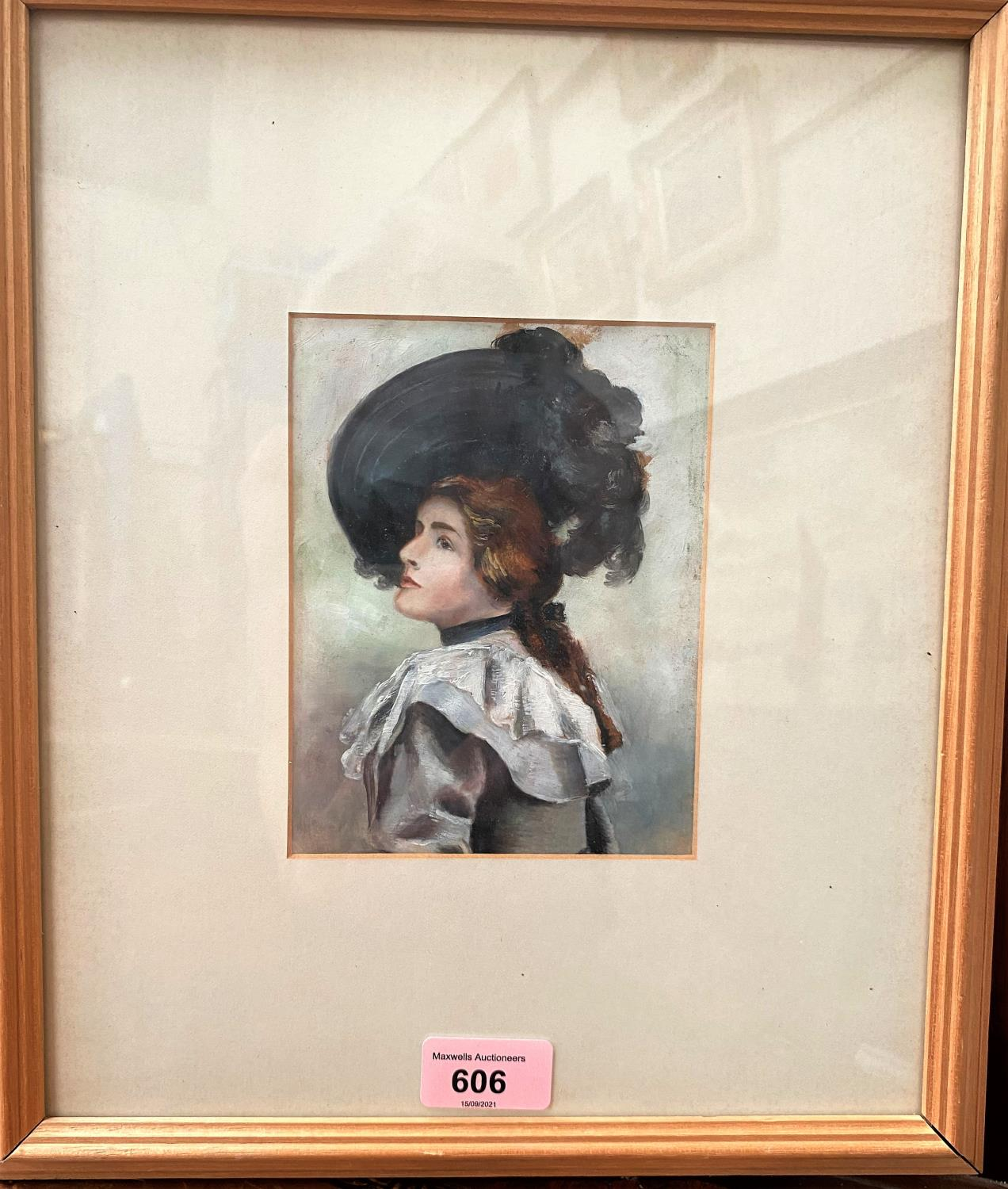 British early 20th century: oil on paper, half length portrait of a Gibson Girl, unsigned, 15 x 11
