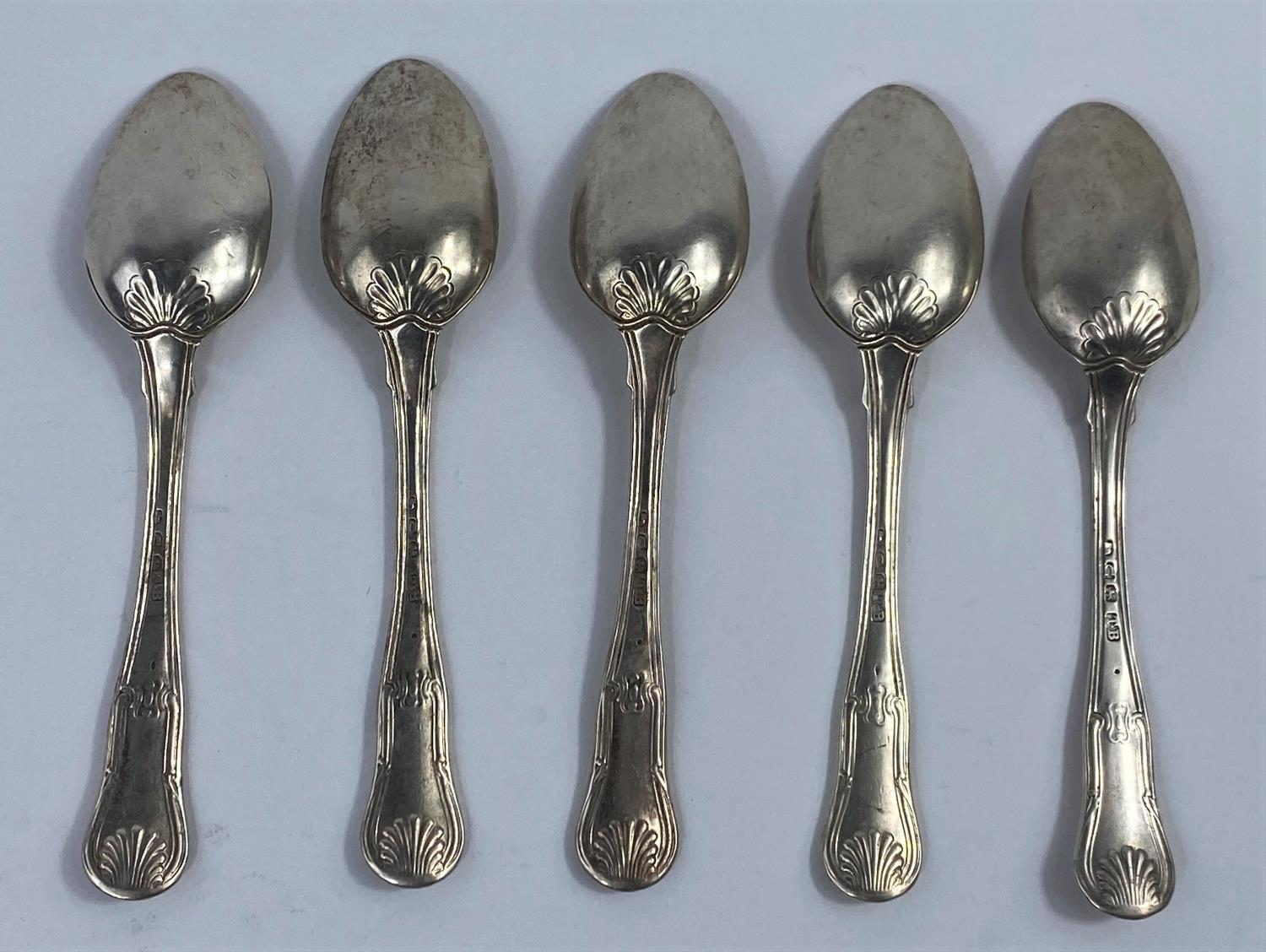 Five hallmarked silver teaspoons, fiddle thread and shell pattern, London 1815, 5.5 oz - Image 2 of 2