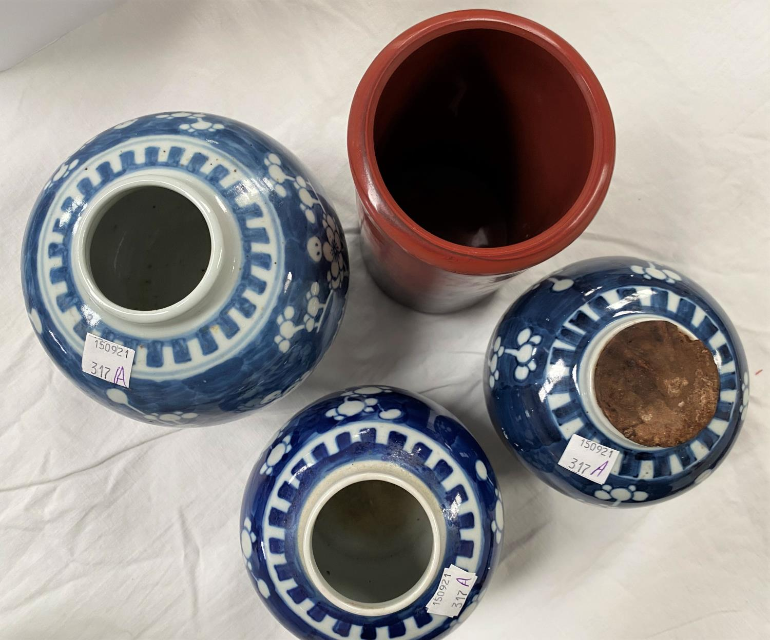 3 Chinese prunus blossom ginger jars, no lids, with double circle marks to base and a Chinese red - Image 3 of 4
