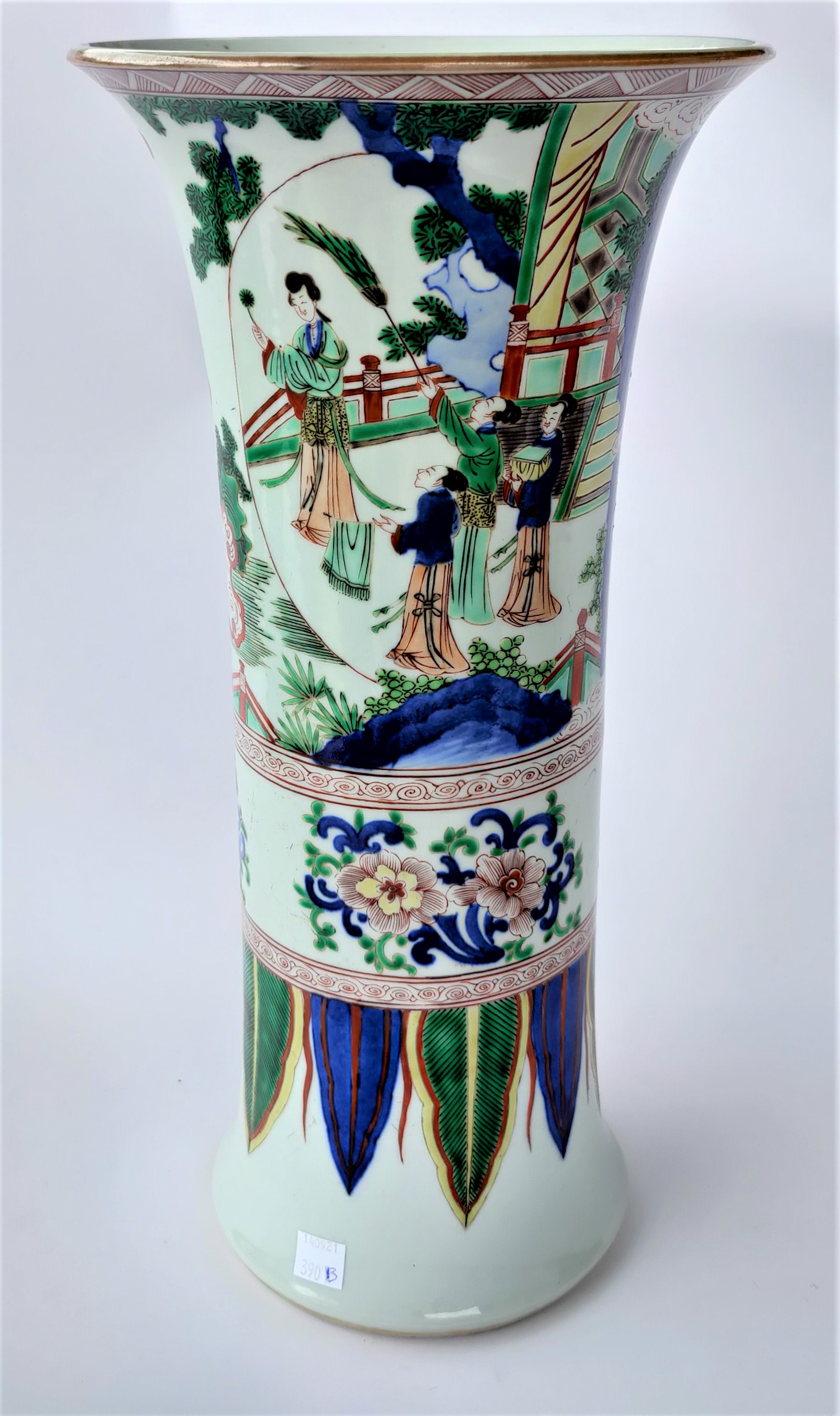 A Chinese famille verte cylindrical vase with flared rim, depicting a domestic scene, height 40cm