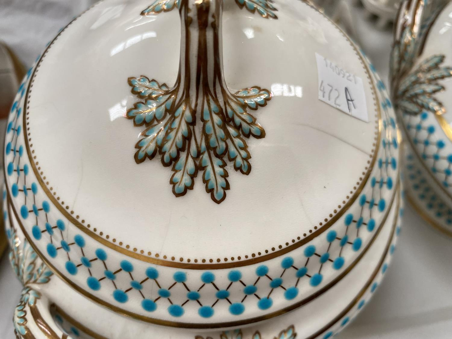 A pair of soup tureens decorated in gilt and turquise (some chips etc); a Coalport candlestick, a - Image 3 of 5