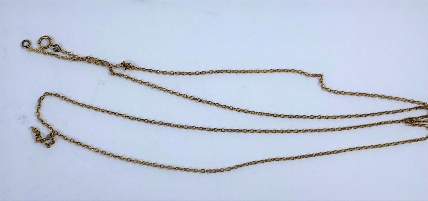 A fine yellow metal chain, clasp stamped '9ct', 3 gm - Image 2 of 2