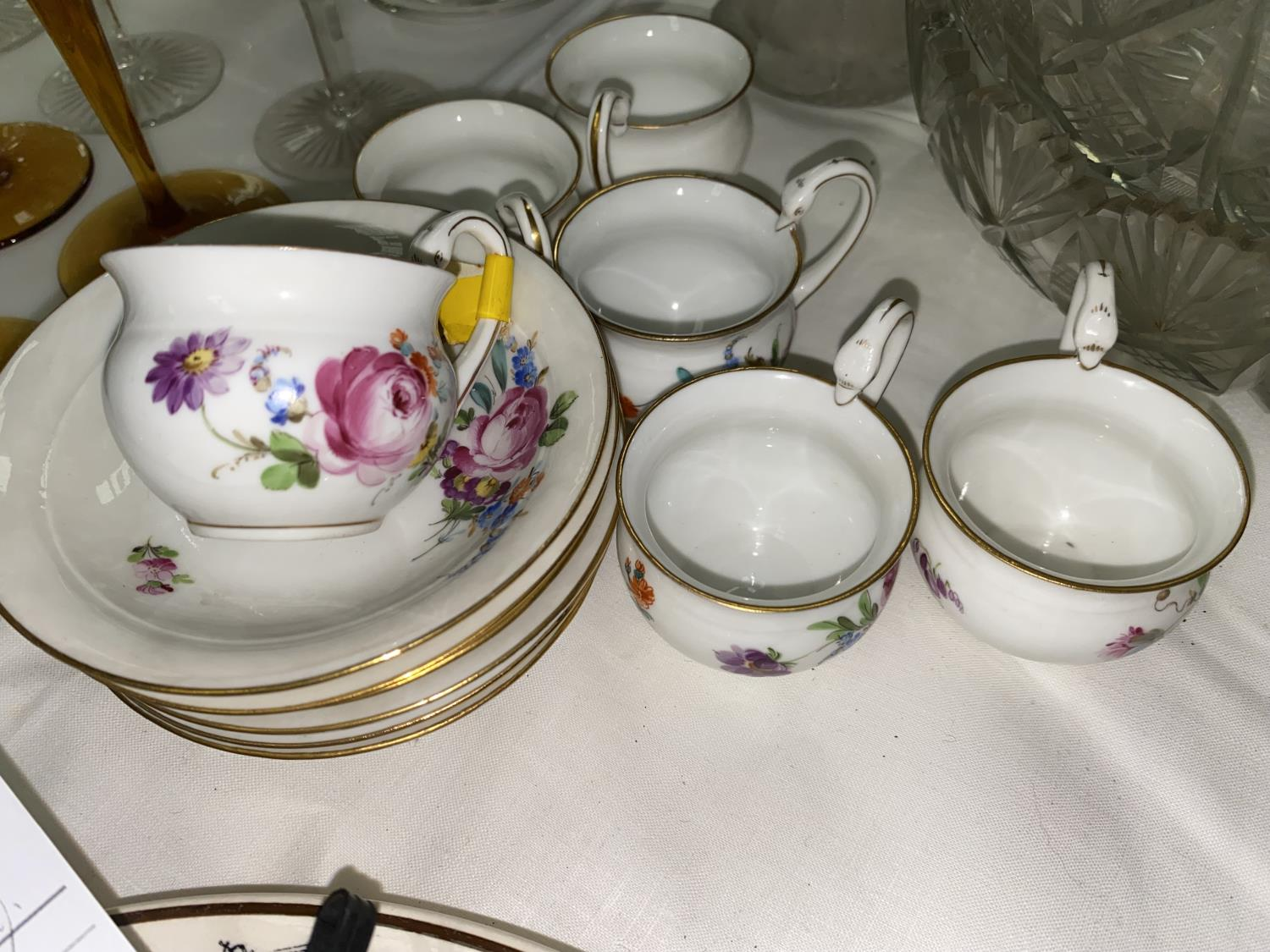 A Royal Worcester black and white coffee service of 12 pieces, boxed; a floral coffee service; cut - Image 4 of 5