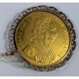 An Austrian 4 Ducat piece restrike, Franz Joseph I 1915, 14 gm net, 0.986 purity, in 9 carat