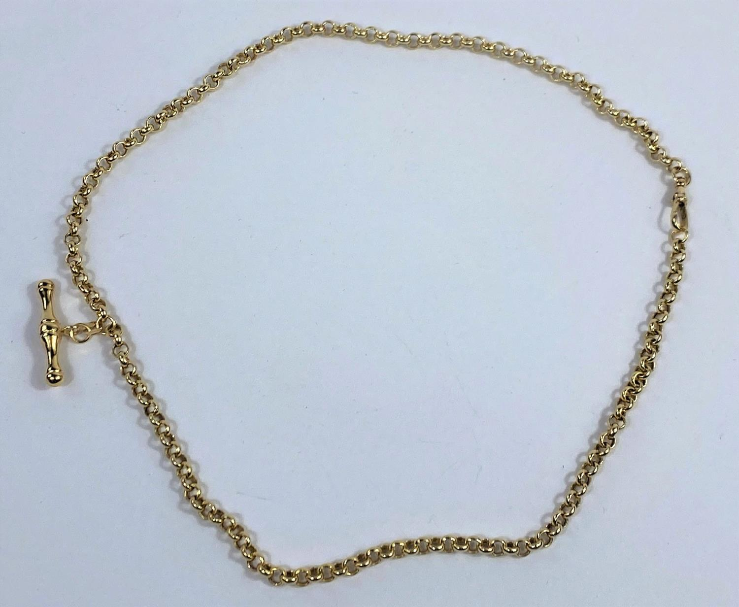 A 9 carat hallmarked gold belcher chain with clip and bar, 6.8 gm - Image 2 of 3