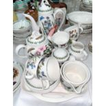 A Portmeirion 'The Botanic Garden' six setting part tea and coffee service having teapot, cafetiere,