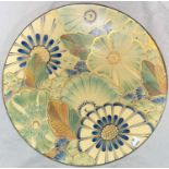 An Art Deco Grays Pottery handpainted wall hanging plaque, with flowers & gilt highlights,