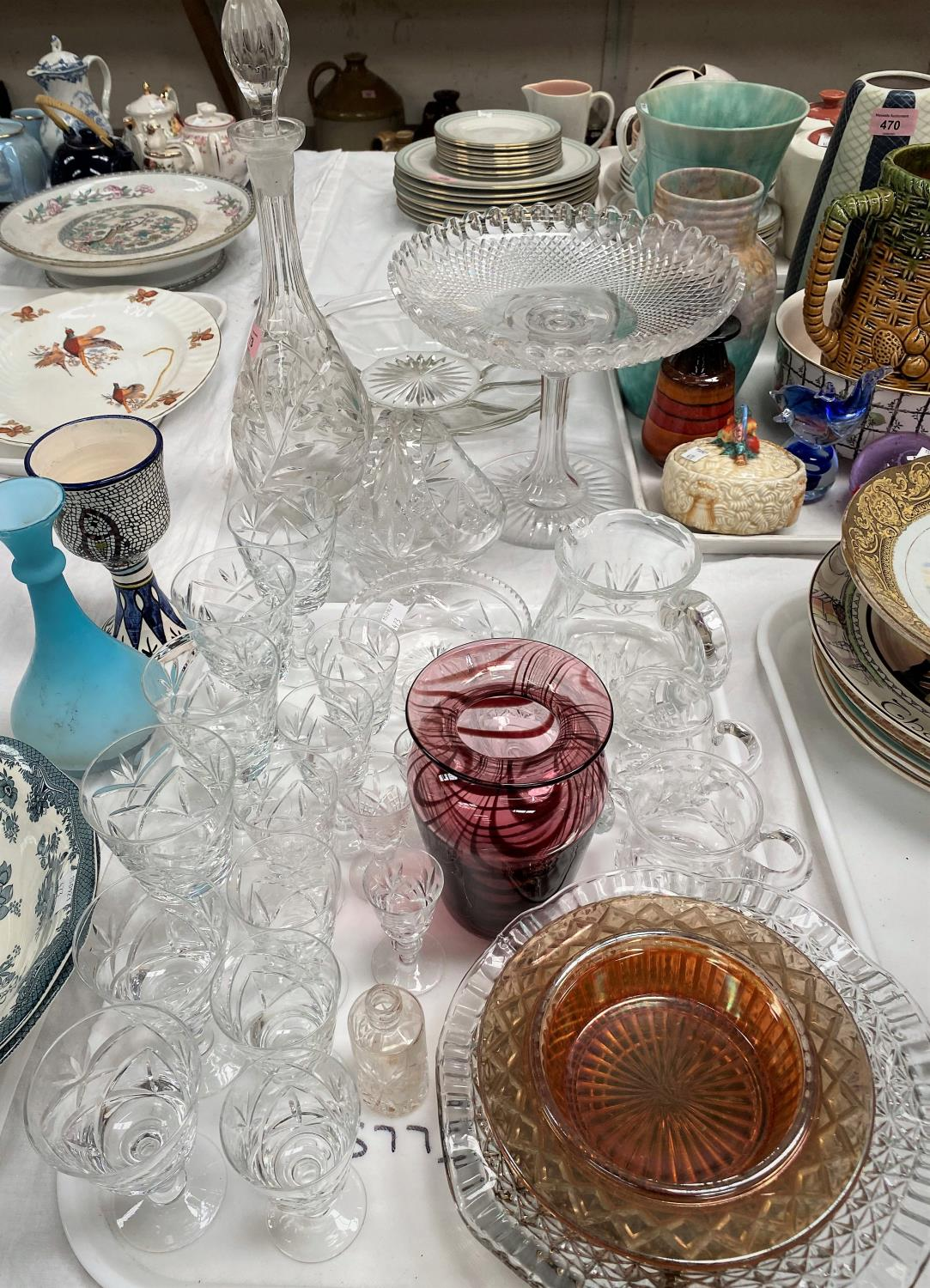 A selection of cut and other glassware; etc.
