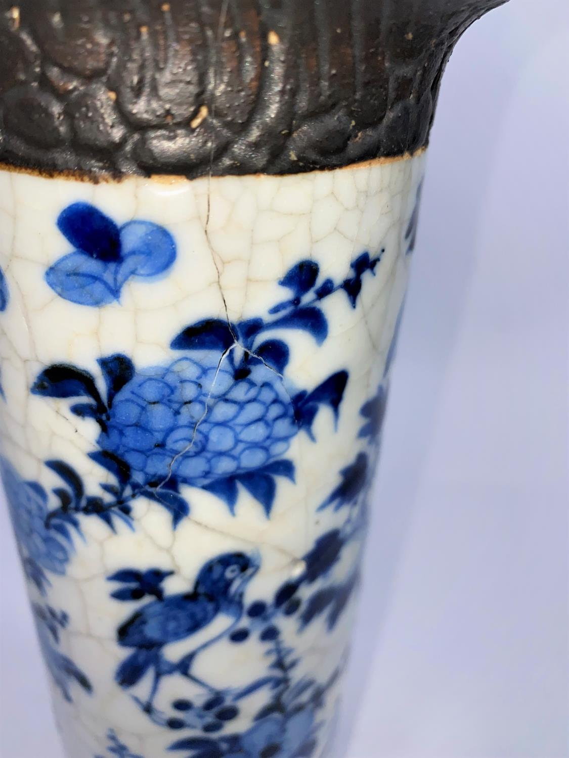 A Chinese blue and white crackle glaze sleeve vase (re-glued), ht. 26cm; 2 Chinese scholars (a.f.) - Image 6 of 9