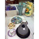 A boxed Royal Doulton cut glass tankard, two 1930's jugs, a muffin dish, three cabinet cups and