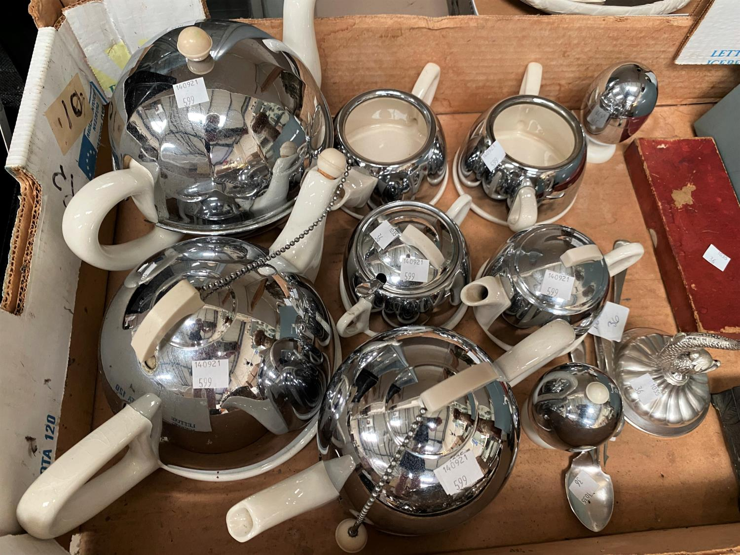 A selection of Art Deco 'Mushroom' teapots in chrome and white pottery; a canteen of stainless steel - Image 2 of 4