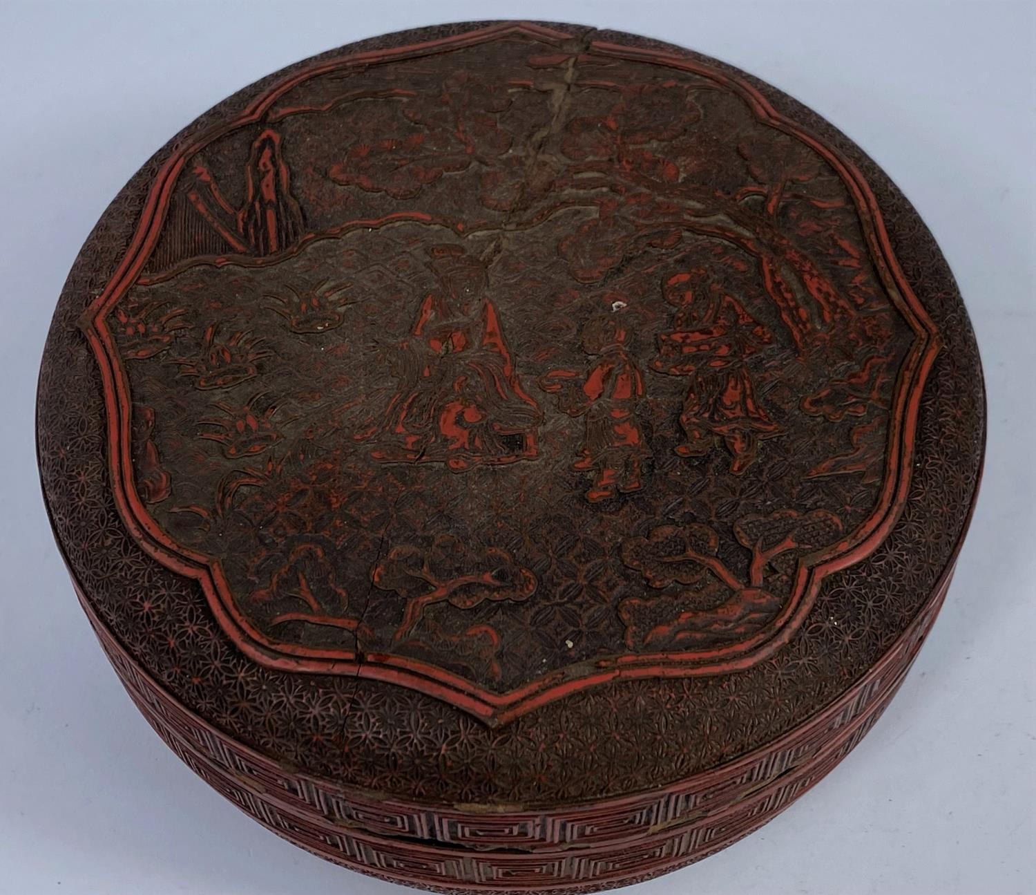 A Chinese cinnabar colour lacquered box, d. 18cm (restored); 2 other boxes - Image 5 of 7