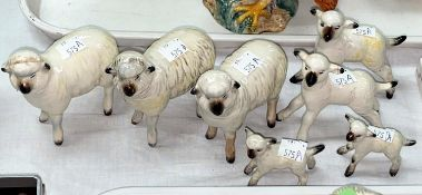 Seven various Beswick sheep, 3 x 935, 2 x 937 and 2 x 936