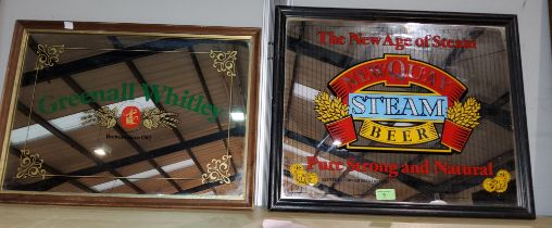 A Greenall Whitley pub advertising mirror framed 36 x 50; another Newquay steam beer 41 x 50