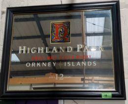 A Highland Park whisky advertising mirror 35 x 45