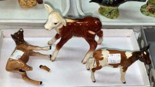 Three Beswick calves: Herefordsire calf brown and white 901, Ayrshire calf brown and white 1249