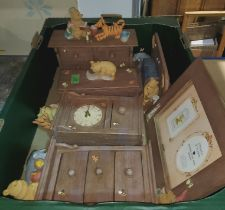A collection of Border Fine Arts groups, 'Classic Pooh': clock; miniature chests; etc.