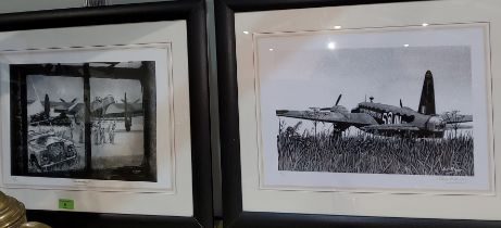"""2 signed prints in black and white of Lancaster Bombers """"That was then! both by Steve Ridgway framed"""
