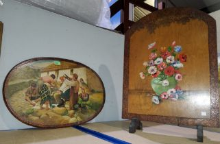 A possibly Scottish oval painting on wood, of a family scene outside a thatched cottage, little