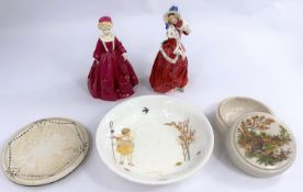 A Royal Worcester figure Grandmothers dress 3081 and a Royal Doulton figure 'Christmas Morn'