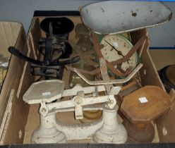 A selection of old kitchen scales and kitchenalia
