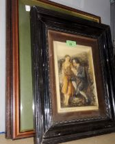 """An Edwardian wax relief picture """"Highland Mary & Burns""""; M Longbottom: rural farm, watercolour,"""