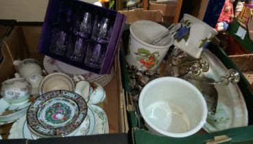 A selection of china and glass: Old Country Roses; Shelley; a Royal Worcester commemorative bowl;