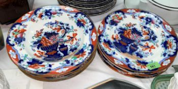 A selection of B.B New Stone plates and dishes in the manner of Masons