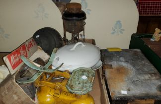 A vintage pair of scales and weights; a Tilley lamp; shaving items; kitchenalia