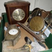 A silverplated mantle clock with 8 day French movement, another clock, etc.