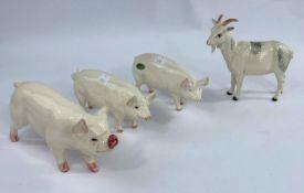 Four Beswick farm animals, Nigerian Goat 223, Boar (pig) 4117, Wall Champion queen 1452, Wall