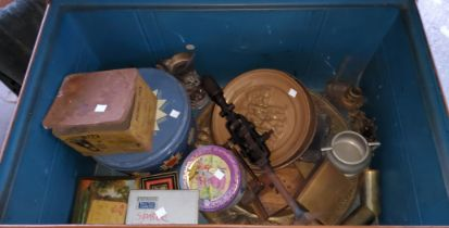 A tin trunk and contents: old tins; metal wire and collectables