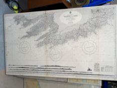 A 1960's mounted marine map of Ireland's South Coast, Valentia to Cork, 70cm x 120cm; 4 West Coast
