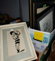 Ben Sharne: Pair of prints of line drawings, 1 artist signed; 4 x 1970's/80's political cartoon