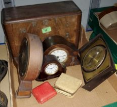 A selection of wooden boxes; a 1930's walnut cased mantel clock; other clocks
