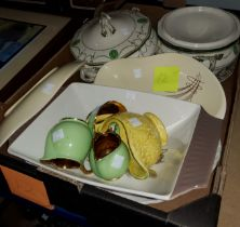 A selection of decorative pottery including Royal Doulton tureens, Carlton ware dishes, Wade items